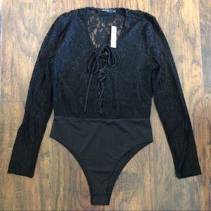 3/$25 Ark & Co Lace Strappy Tie Front Bodysuit